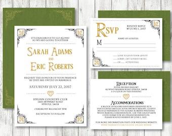Legend Of Zelda 'Hylian Heart' Theme *Printable Wedding Invitation* Zelda Invitation // Zelda Wedding Printable // Save The Date // CUSTOM