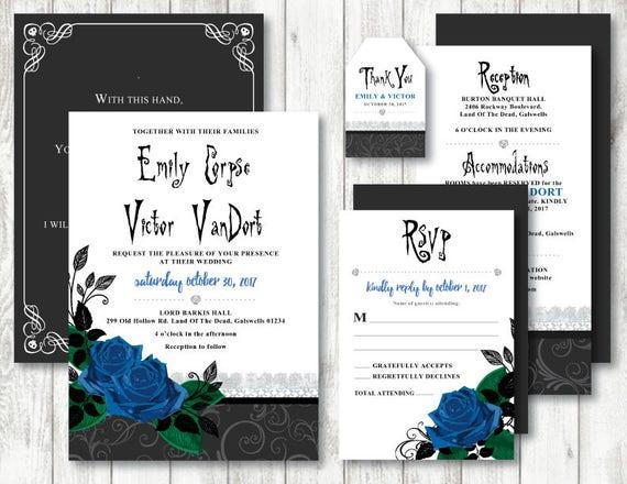 Corpse Bride \'Blue Rose\' Theme Printable Wedding   Etsy