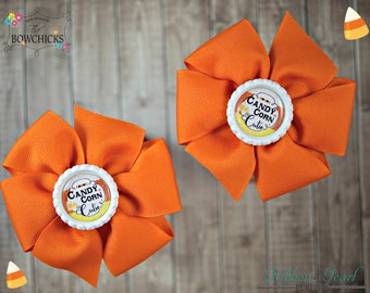 Candy Corn Bow | Pinwheel Bow | Fall Hair Bow | Boutique Halloween Bow | Bow | Large Fall Bow | Halloween Bow | Fall Bow | Hair Bow