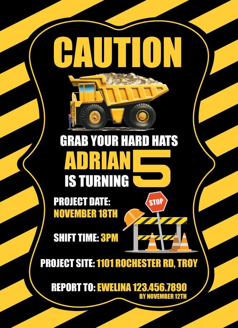 Dump Truck Caution Birthday Invitation black yellow count of 25+