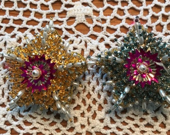 Vintage Beaded Christmas Star Ornaments