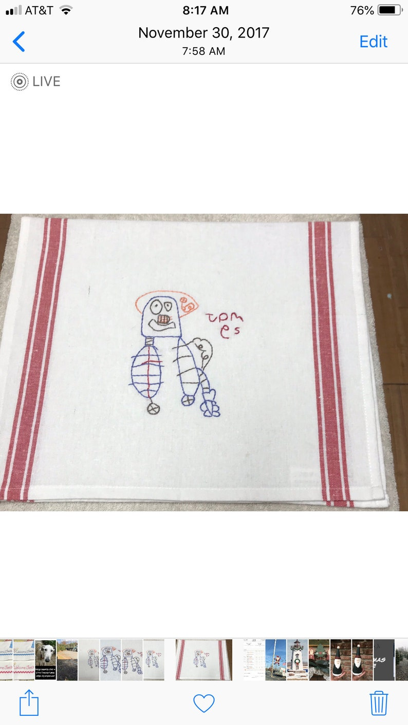 Children/'s Artwork Custom Designed Hand Embroidered Keepsake Towel