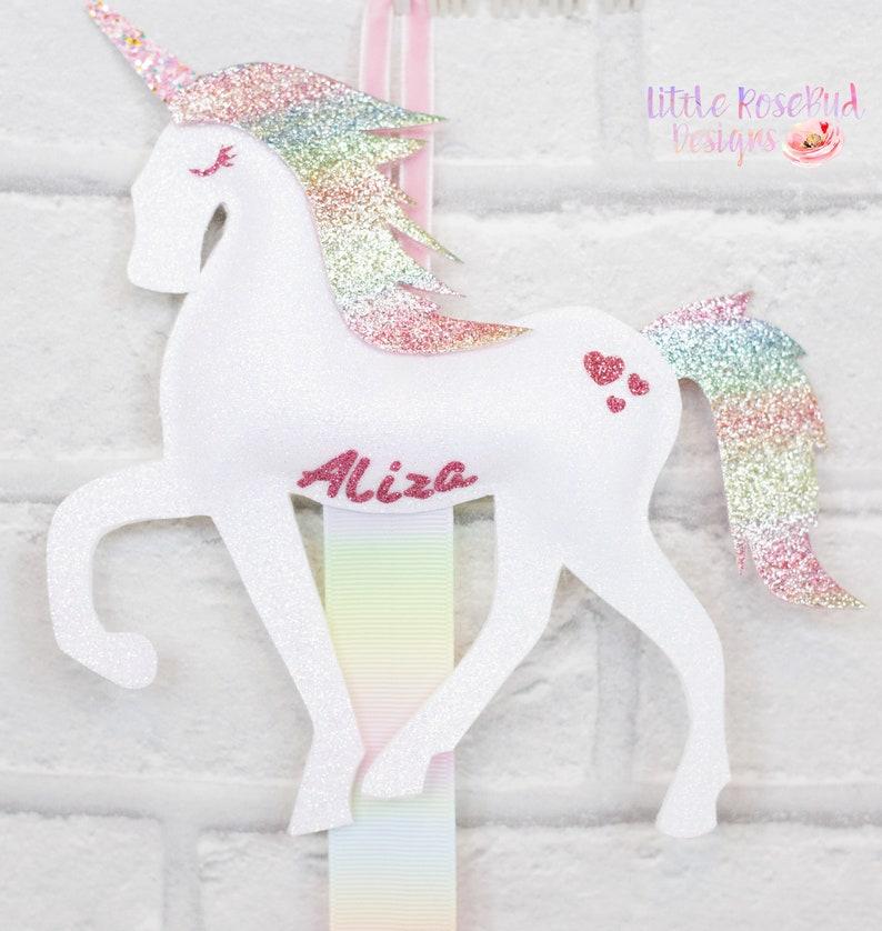 Handmade Felt Unicorn Bow and Clip Holder