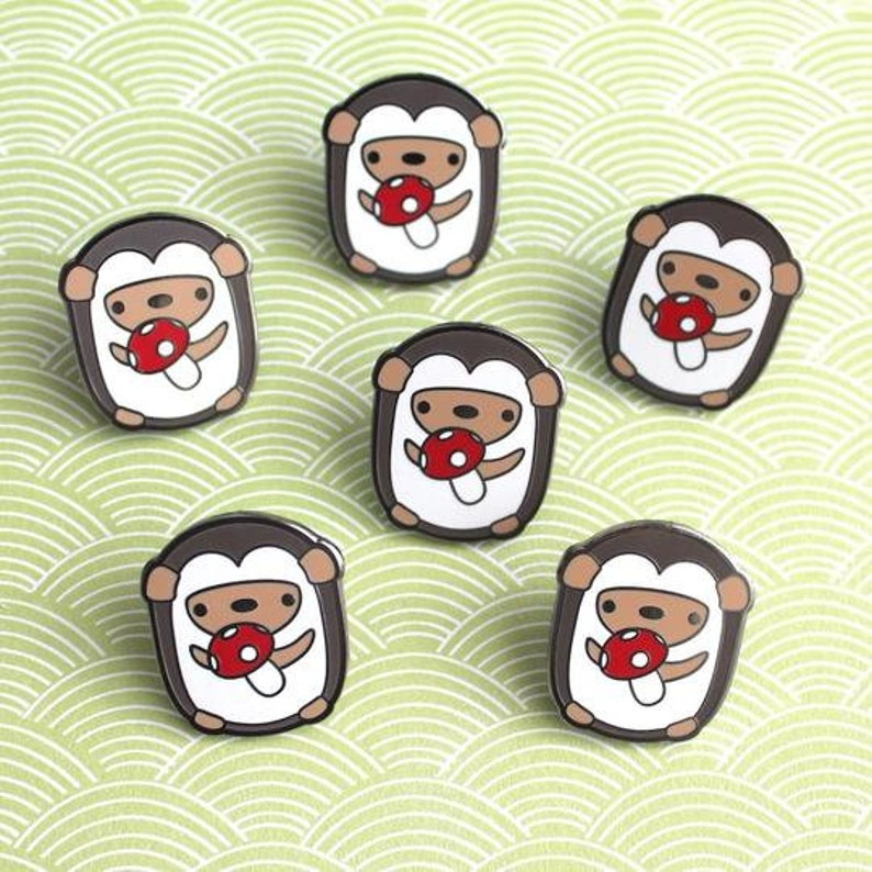 Mushroom Gift Hedgehog Jewelry Charity Pin Hedgehog Accessory Cute Lapel Pin Hedgehog Enamel Pin Kawaii Enamel Pin Badge For Jacket