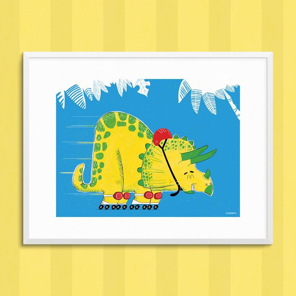 Triceratops rollerskating wall art boys bedroom Kids Bedroom | Etsy