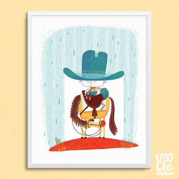Arte de vaquero para habitaciones infantiles dibujos animados | Etsy