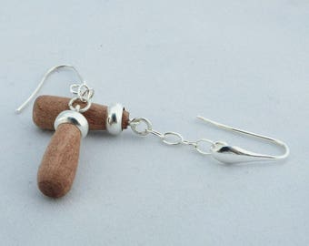 """Earrings """"turned"""", rings and sterling silver pink ivory wood, unique. gastyne workshop"""