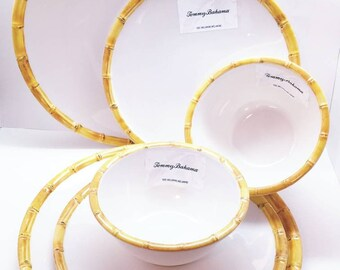 Tropical Bamboo Trimmed Melamine Dinner Set Two Dinner Plates Two Salad Plates Two Bowls Brand New Set of Six