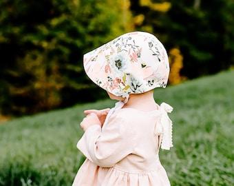 floral baby bonnet // baby sun bonnet // reversible bonnet // baby hat // baby sun hat // sunbonnet // pink coral bonnet // spring bonnet