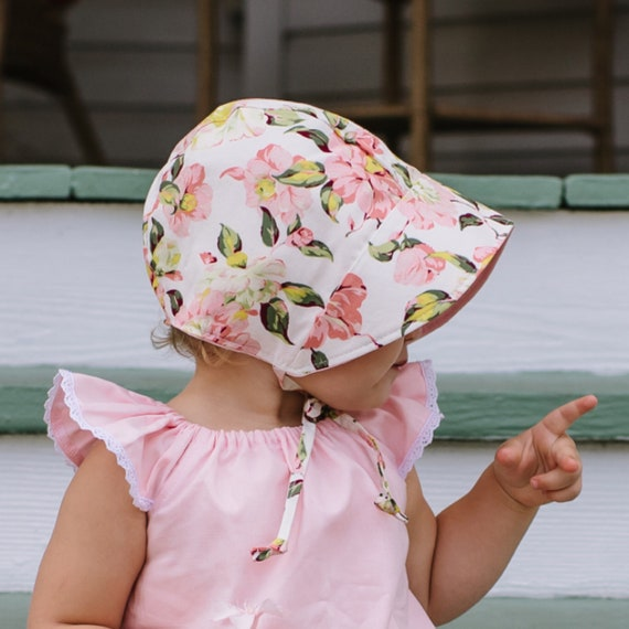 ... Hat  uk cheap sale 89d42 155a3 floral baby bonnet baby sun bonnet  reversible bonnet ... cc4c67810c3c