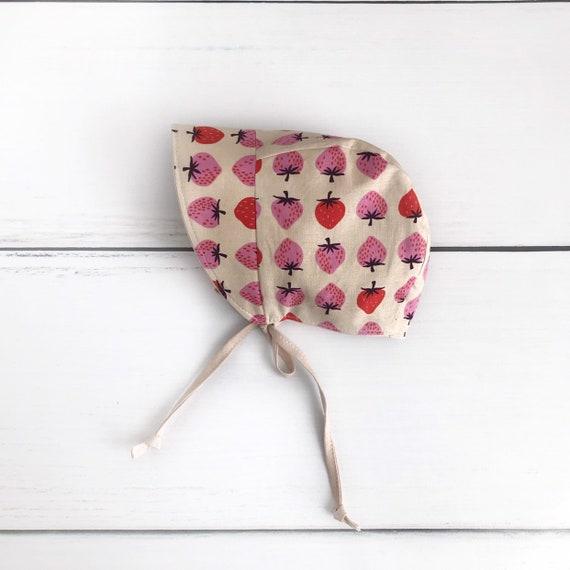 strawberry baby bonnet  baby sun bonnet  reversible bonnet  linen bonnet  baby sun hat  spring bonnet