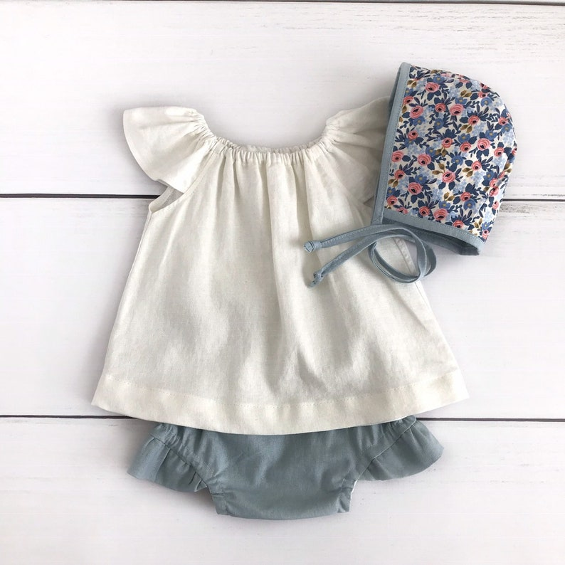 blue linen baby bloomers  ruffle bloomers baby shorts  bubble shorts easter spring bloomers  diaper cover  linen baby summer c