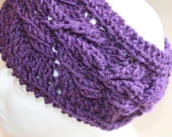 Womens purple knit wool headband, knit ear warmer, knit headwrap