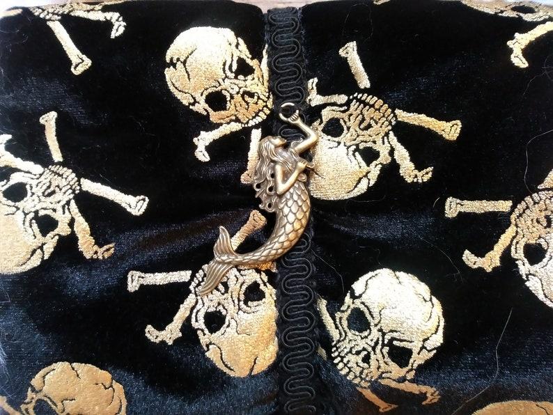 White Fur Brass Mermaid Hand Warmer Pirate Skull and Crossed Bones Victorian Steampunk Muff