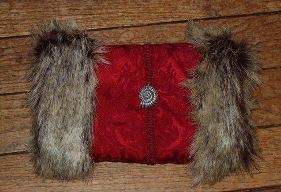 Brass Tree Ornament Hand Warmer Faux Brown Leather Gray Fur Victorian Steampunk Muff