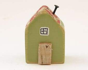 Tiny Wood House with Floral Decoupage Roof, Tiny House, Wood House, House Gifts, Little House, Tiny Wood Decor, Wood Anniversary, Wood Gift