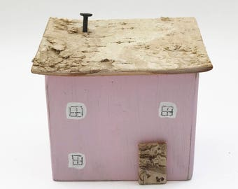 Small Painted Pink Wood House, Pink House Ornament, Wooden Houses, Houses as Ornaments, Little Gifts for Her, Small Houses for Decor, House