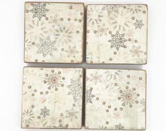 Snowflake Coaster Set, Christmas Coaster, Wooden Coasters, Christmas Decor, Snowflake Decor, Drink Coasters, Wooden Christmas Decor, Coaster