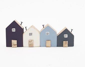 Little Wooden Houses that sit on Shelf