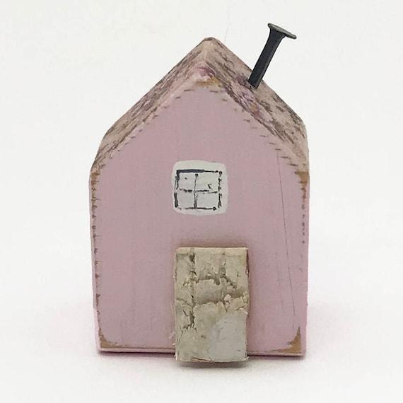 Kleine Rosa Holzhaus Miniatur Haus Holzhauser Kleinen Etsy