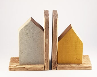 Rustic Wood Bookends Handcrafted Wood Book Ends Book Storage Book Organisation Wooden Home Decor Reading Modern Style Bookends Library Decor