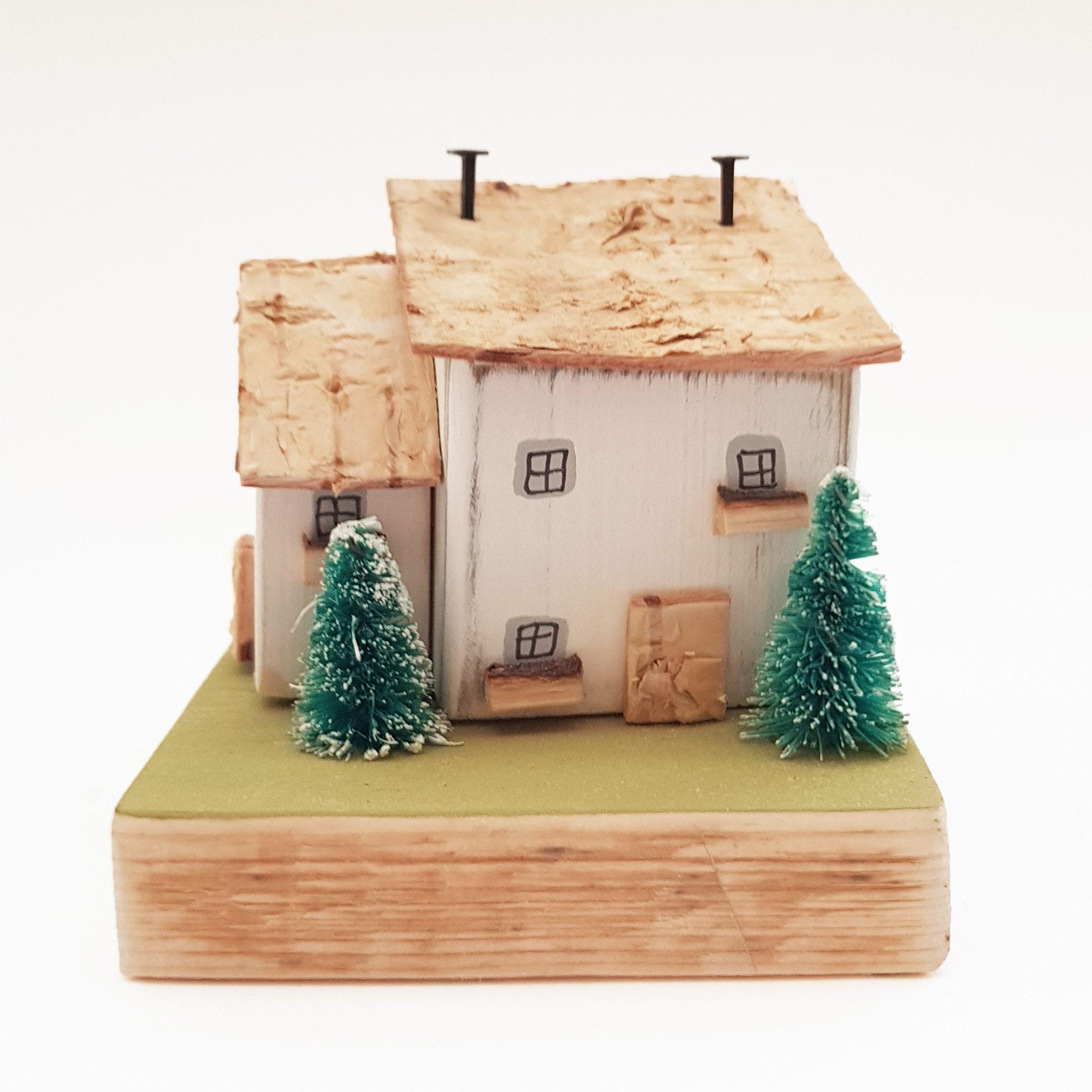 Wooden Cottage Winter Scene Decor Christmas Holiday Decor ...