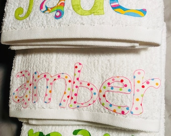 Personalized Name Bath Towels