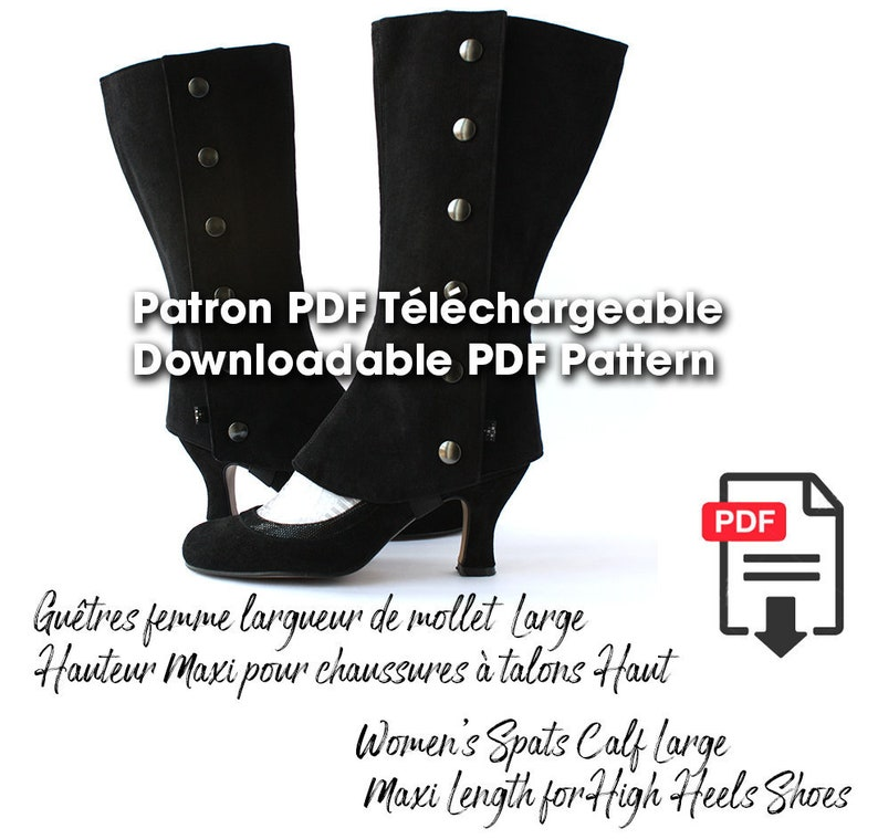 Spats, Gaiters, Puttees – Vintage Shoes Covers Women's Spats Calf width 165'' Maxi Length downloadable PDF pattern for High Heels Shoes sewing pattern spats $10.04 AT vintagedancer.com