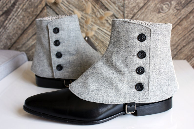 Spats, Gaiters, Puttees – Vintage Shoes Covers Luxury Mens Spats Light Grey wool flannel gaiters for elegant men dandy loving the vintage style Dapper Men Gaiters spats spatterdash $138.05 AT vintagedancer.com
