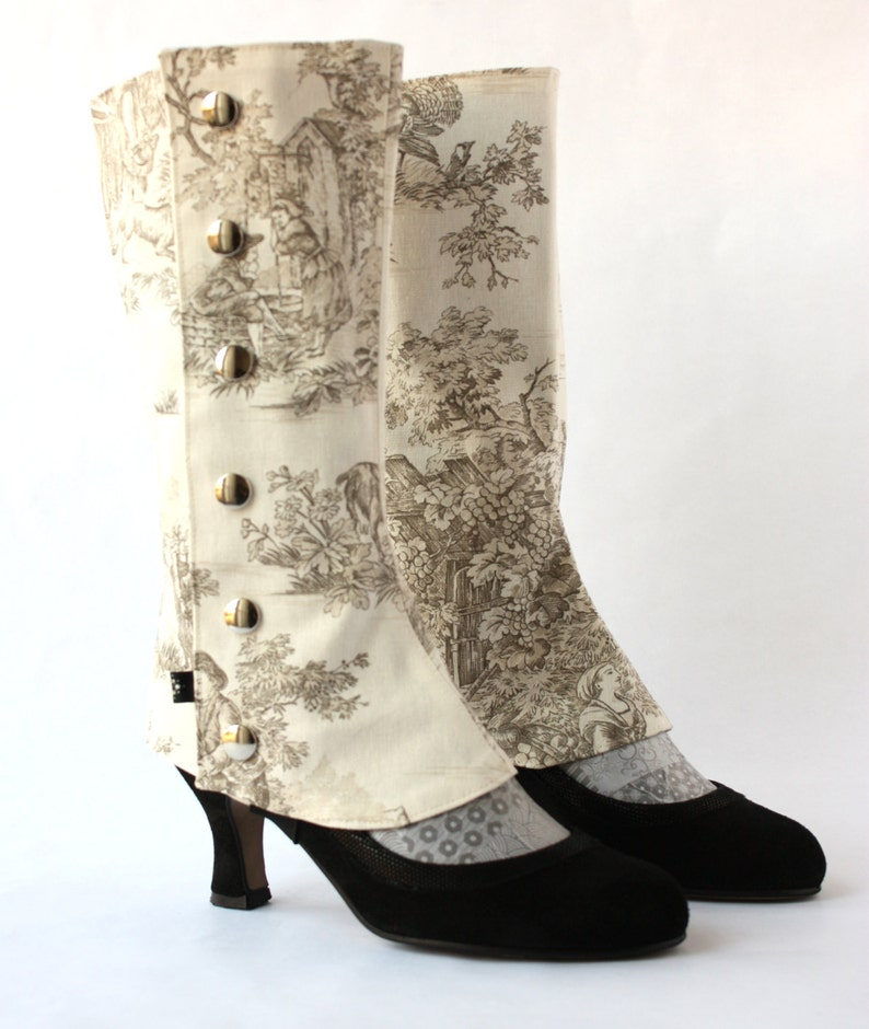 Spats, Gaiters, Puttees – Vintage Shoes Covers French Toile de Jouy Tall Spats for High Heels Shoes $81.58 AT vintagedancer.com