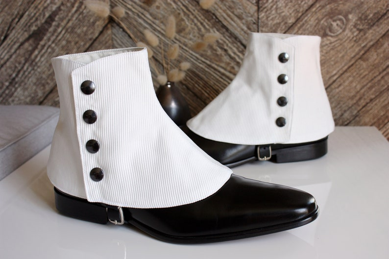 Victorian Men's Shoes & Boots- Lace Up, Spats, Chelsea, Riding Luxury Mens White Ottoman fabric for elegant men dandy loving the vintage style Dapper Men Gaiters spats spatterdash $115.00 AT vintagedancer.com
