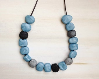 Silvery Blue Clay Bead Necklace//Blue Polymer Clay Bead Jewellery//Blue Bead Necklace//Silver Blue Jewelry//Beautiful Gift for Mum