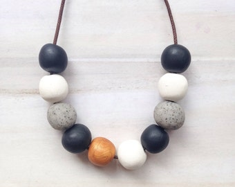 Round Bead Jewellery// Gorgeous Bead Necklace//Multi Colored Beads//Jewelry Black White Bead Jewellery//Concrete Copper Beads//Gift for mum