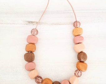 Unique Clay Bead Leather Necklace//Polymer Clay Bead Jewelry //Gift for Her//Bohemian Necklace//Gift for Mum//Natural Jewelry