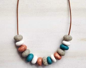 Small Circle Bead Jewellery//Polymer Clay Bead Necklace//Multi Colored Beads//Bead Jewelry/ Black White Bead Jewellery//Concrete Copper Bead