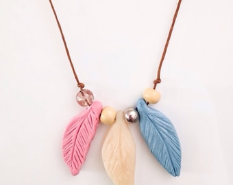 Pink Blue and White Polymer Clay Feather Necklace Pendant//Feather Jewellery//Pink Polymer Necklace//Gift for Her//Gift for Mum//Boho Jewel