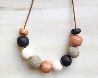 Round Bead Jewellery//Polymer Clay Bead Necklace//Multi Colored Beads//Bead Jewelry/ Black White Bead Jewellery//Concrete Copper Beads//Gif