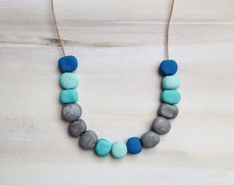 Turquoise Clay Bead Leather Necklace//Polymer Clay Bead Jewelry //Gift for Her//Bohemian Necklace//Gift for Mum// Turquoise Jewelry
