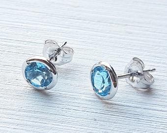 14K Blue Topaz White Gold Stud Earring, London Topaz, December birthstone