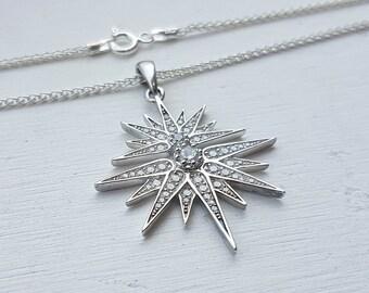 Silver Star Pendant, Statement Necklace, Minimalist Jewelry, CZ Pendant On Chain, North star pendant