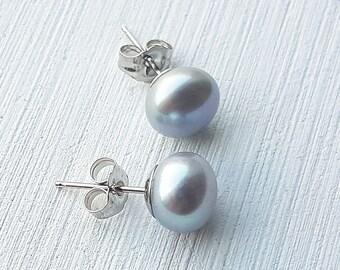 Freshwater Pearl Earrings, 14K White Gold, Bridal Earrings, Wedding Jewelry, gray pearl studs