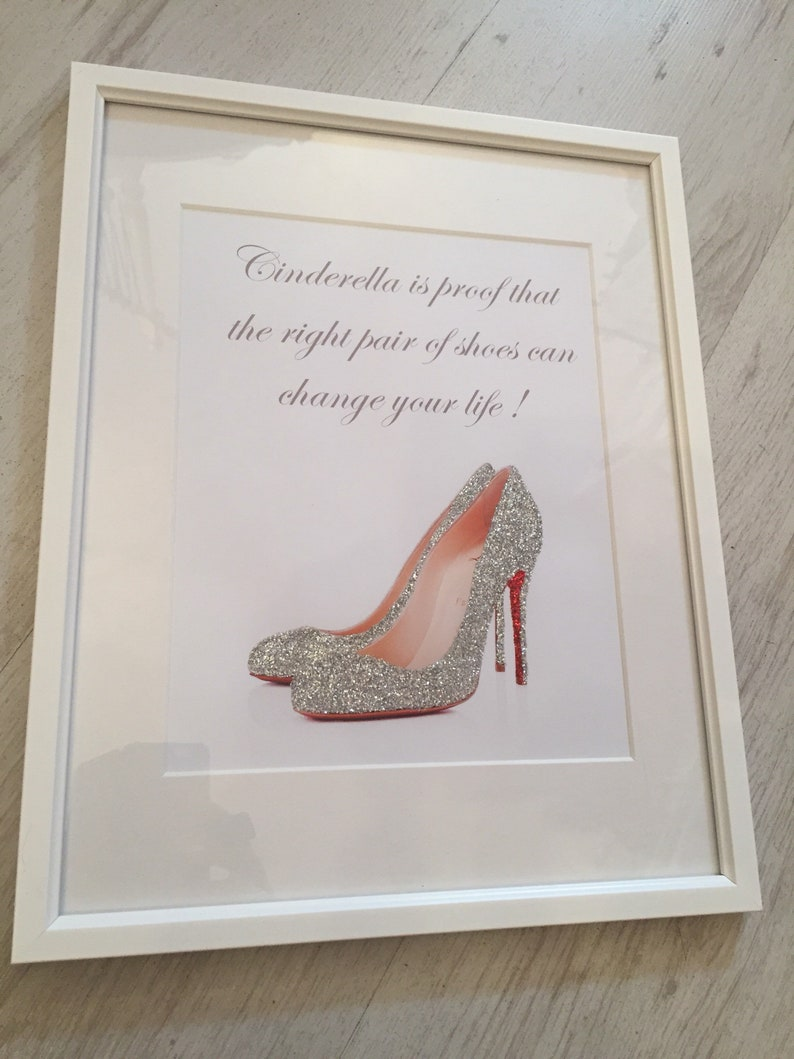 0109fe1ac56d Cinderella glitter silver shoe picture framed 14 x 11 inches cinderella  quote fashion picture home decor gift for her beauty salon red sole