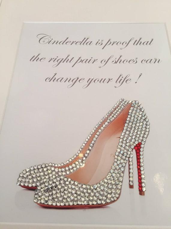 dcdbbbb1f5ce Cinderella fashion shoe picture 14 x 11 framed diamante