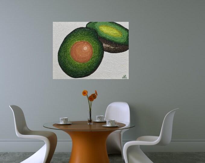 """ORIGINAL Painting - """"Avocado VII"""" - texture - gel gloss medium - impasto - experimental techniques"""