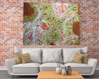 "HUGE original Painting - ""Burst of Sunshine"" - abstract acrylic painting - experimental - inventive techniqu"
