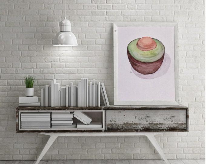 """ORIGINAL Painting - """"Avocado Half II"""" - watercolor"""