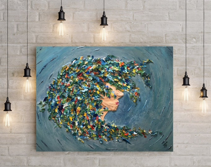 """ORIGINAL Painting - """"One with the Sea"""" - abstract acrylic painting - texture - experimental - inventive techniques"""