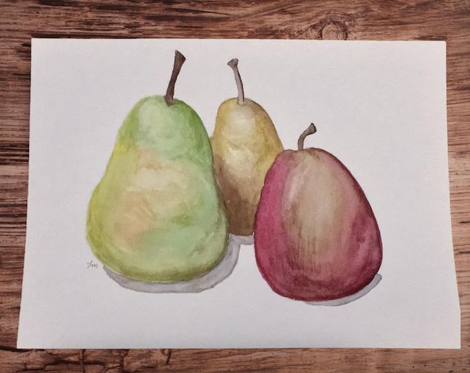 "ORIGINAL Painting - ""Trio of Pears"" - watercolor"