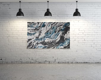 "HUGE ORIGINAL Painting - ""Glacial"" - abstract acrylic painting - experimental - inventive techniques"