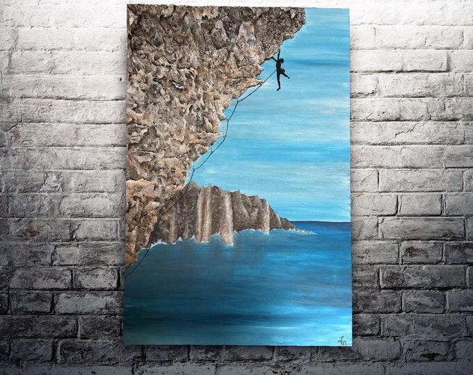 """ORIGINAL Painting - """"The Ascent"""" - rock climbing"""
